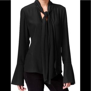 Rachel Roy Black Tie neck bell sleeve blouse S